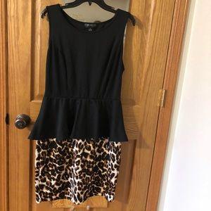Black and leopard peplum dress